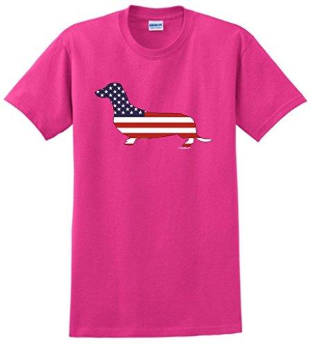 Patriotic Dachshund Doxin Weiner Dog American Flag T-Shirt Small Hlcna