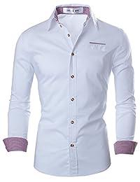 TAM WARE Mens Premium Casual Inner Contrast Dress Shirt TWNMS315S-WHITE-US XL