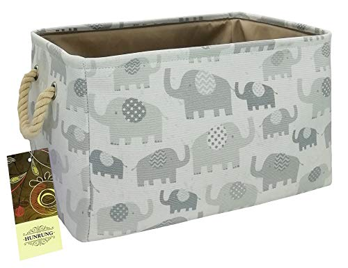 HUNRUNG Rectangle Storage Basket Cute Canvas Organizer Bin for Pet/Kids Toys, Books, Clothes Perfect for Kid Rooms/Playroom/Shelves (L, Elephants) from HUNRUNG