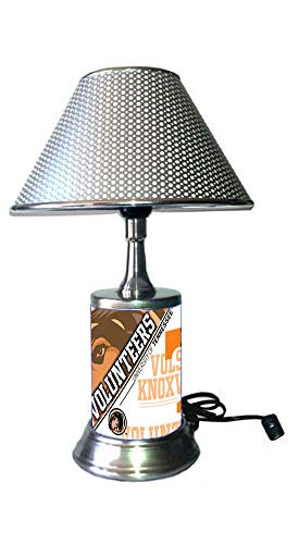(JS Table Lamp with Chrome Colored Shade, Tennessee Volunteers Plate Rolled in on The lamp Base)