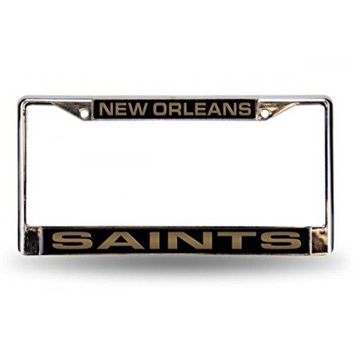 (Rico Industries NFL New Orleans Saints Laser Cut Inlaid Standard Chrome License Plate)