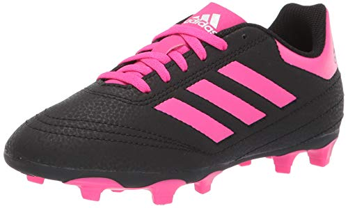 adidas Unisex Goletto VI Firm Ground Football Shoe, Black/Shock Pink/White, 1 M US Little Kid