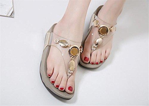 Summer Flat Sandals Comfortable Sandals Summer Size Women pit4tk Women Gold Big nRI6Wq