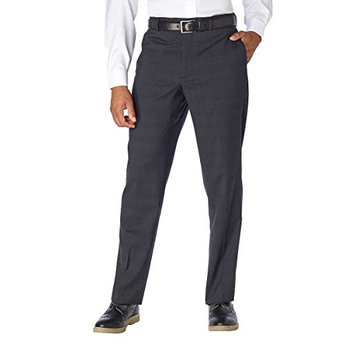 Kirkland Signature Men's 100% Wool Flat Front Dress Pants (34X32, Charcoal)
