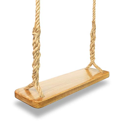 Aoneky Natural Wood Tree Swing Seat, Kids Children Adult Backyard Outdoor Replacement Rope Wooden Swing Set
