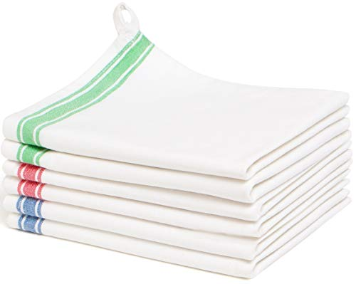 Liliane Collection Multi 6 Kitchen (18x28) -100% Cotton-Vintage Design with Two Colorful Side Stripes. Classic Dish Set Includes 2 Red Green 2 Blue Towels. Absorbent with Hanging L, 18x28