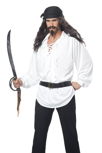 (California Costumes Men's Pirate Wig Moustache and Chin Patch, Black/Grey, One)