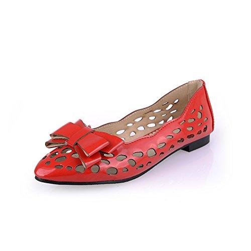 Out Bows Shoes Hollow Flats Square BalaMasa Womens Heels Red Urethane n4qxfwtSHa