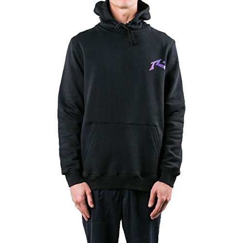 Rusty Men's Original Logo Fleece Hoodie Traditional Fit Sweatshirt, Ripple Black, (Blk Traditional Mens Jacket)