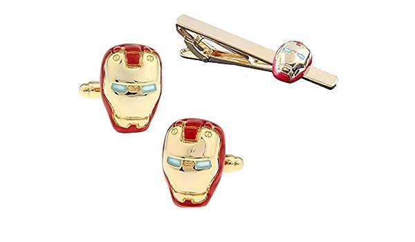 Pack Pasador de Corbata Gemelos para Camisa Iron Man: Amazon.es ...