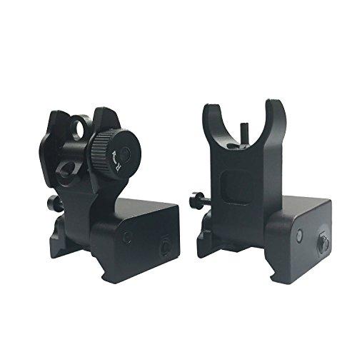 OTW Flip Up Iron Sights A2 Flip Up Front Sight + Back Up Rear Sight Mounts Set for (Pistol Sights Airsoft)