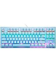 K2 mekaniskt speltangentbord, trådbundet mini 87 tangenter blå brytare mekaniskt kompakt tangentbord med 8 bakgrundsbelyst regnbågsläge, 12 multimediaknapp, 29 tangenter anti-ghosting för spelare och typer – blå