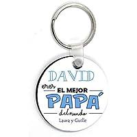 Kembilove Llavero Padre Personalizado con nombre - Llavero Redondo Eres el Mejor Papà del Mundo - Regalos Originales…