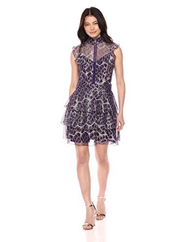 Dress Flounce Lace (Wild Meadow Women's Lace Flounce Cocktail Dress XS Purple Metallic)