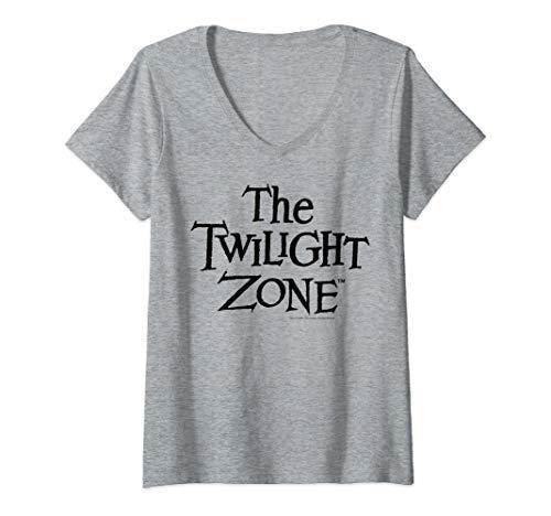 Womens Twilight Zone Simple Black Title Text V-Neck T-Shirt ()