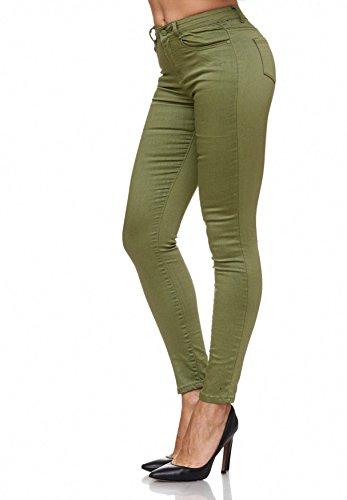 Lucido Verde Pantaloni Jeans Chiaro Treggings Vita Skinny Elasticizzati A Bassa D2074 Donna vr8FUvq