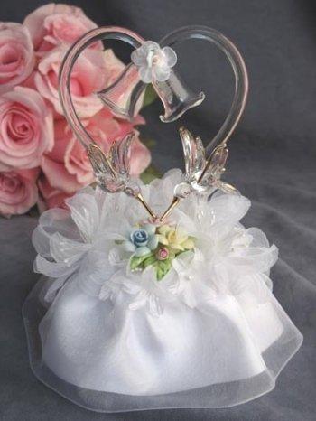 Pastel Rose Hummingbird Cake Topper: Skirt Color: White Porcelain Wedding Bell