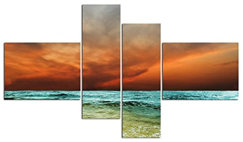 Sea And Fiery Sky Landscape Impressionist Wall Art Living Room