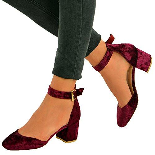 Cucu Fashion - Sandalias con cuña mujer rojo vino