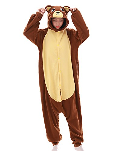 Jormarcos Adult Unisex Animal Cosplay Pajamas Brown Bear Costumes Homewear Onesie (Large)]()