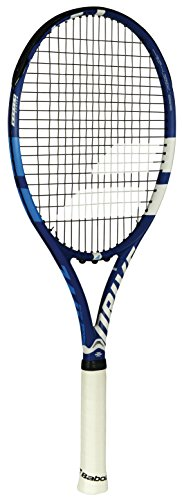 Babolat Drive G Lite Black/Blue/Grey Recreational Tennis Racquet (4 1/4 inch Grip) Strung with Natural String (Lightweight and Well Balanced Racket)