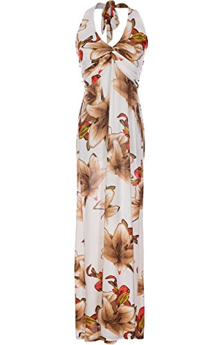 2LUV Women's Summer Holiday Resort Beach Maxi Floral Dress White & Brown M