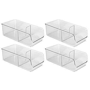 InterDesign Linus Spice Packet Organizer Bin for Kitchen Pantry, Cabinet, Countertops - Set of 4, Clear