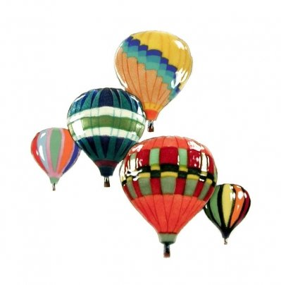 Bovano Hot Air Balloon in Flight Albuquerque Colors Enamel Glass Copper Metal Wall Art