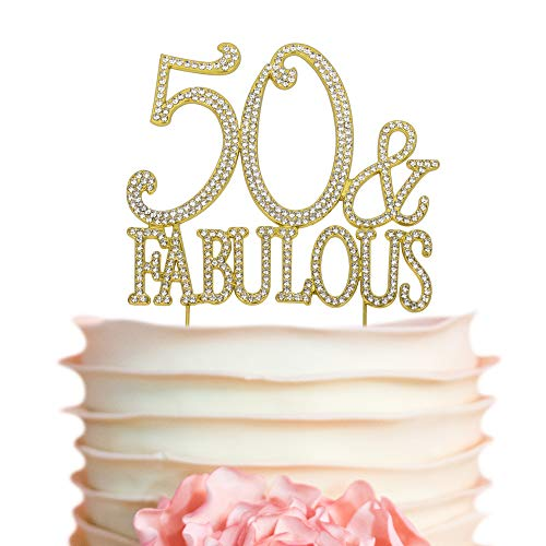 50&Fabulous GOLD Birthday Cake Topper | 50th Party Decoration Ideas | Premium Sparkly Crystal Diamond Gems | Quality Metal Alloy (50&Fab Gold)