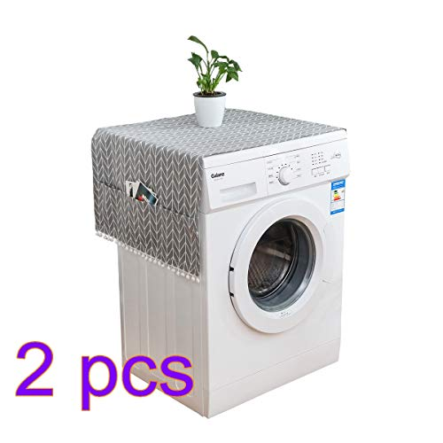 Fridge Dust Cover Multi-purpose Washing Machine Top Cover Refrigerator Dust Proof Covers with Storage Pockets(2Pcs Gray)