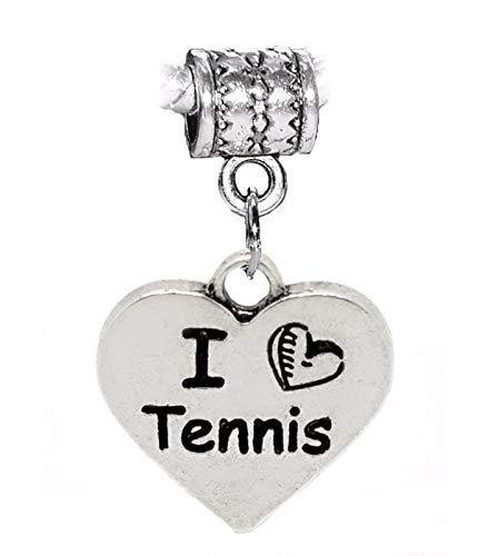 Beads Crimp Tornado (I Heart Tennis Love Sports Words Dangle Charm for European Bead Slide Bracelets Crafting Key Chain Bracelet Necklace Jewelry Accessories Pendants)