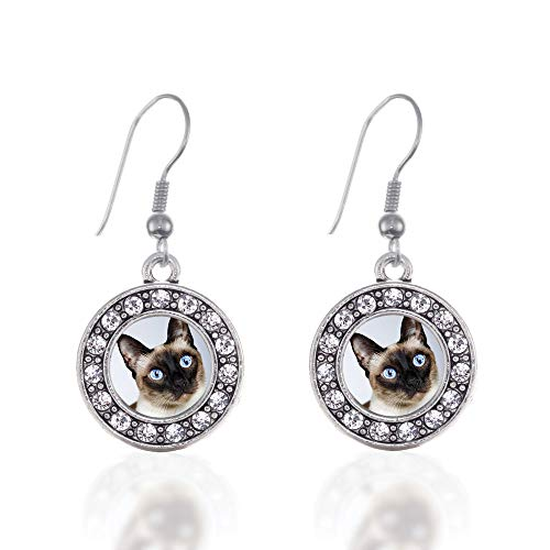 (Inspired Silver - Siamese Cat Charm Earrings for Women - Silver Circle Charm French Hook Drop Earrings with Cubic Zirconia Jewelry)