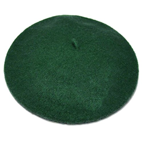 Women French Wool Beret Hats - Solid Color Classic Beanie Winter Cap (Blackish green) -