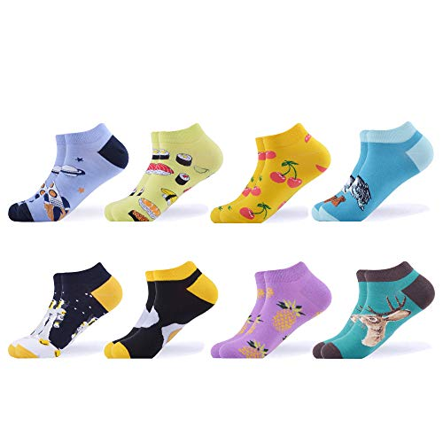 Ankle Socks Spandex Nylon - WeciBor Men's Dress Cool Colorful Fancy Novelty Funny Casual Combed Cotton Ankle Socks Pack (B058-36)