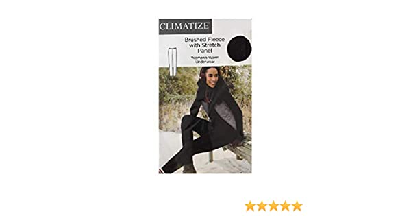 Climatize Womens Warm Underwear Brushed Fleece with Stretch Panel Black