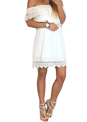 Zhaoyun Womens Sexy Off Shoulder Crochet Lace Ruffles Strapless Casual Mini Dress White-S
