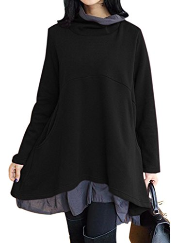 Women's Long Sleeve Cowl Neck Casual Layered Tunics With Pockets