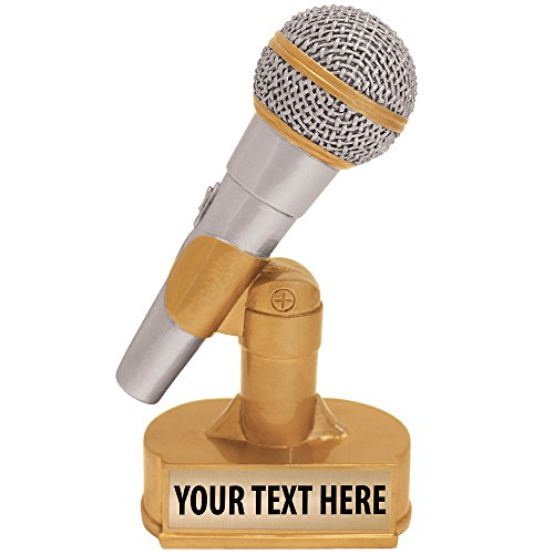 Crown Awards Hand Painted Microphone Gold Sculpture- Great for Singing, Music, Karaoke, DJ's, Radio