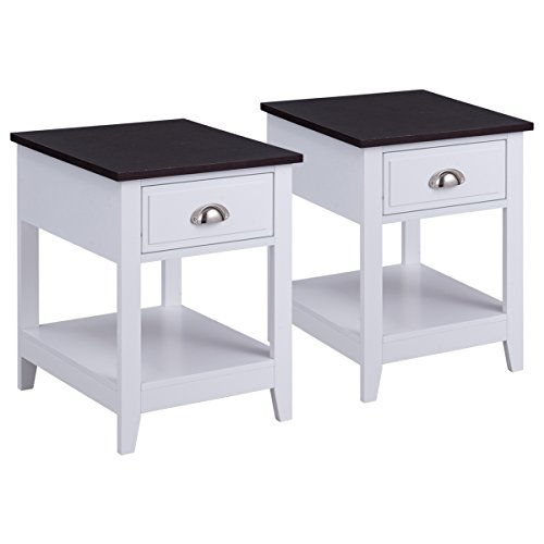 Bedroom Set Nightstand - Giantex Set Of 2 Night Stand for Bedrooms End Table Coffee Table with Storage Drawer & Display Shelf Storage Bedside Cabinet