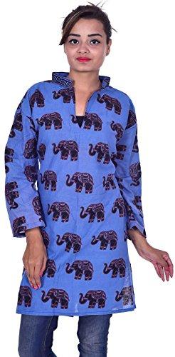 Indian-Elephant-print-100-Cotton-Kurta-Designer-Women-Ethnic-Top-Tunic-Kurti-plus-sizer-Blue-Color