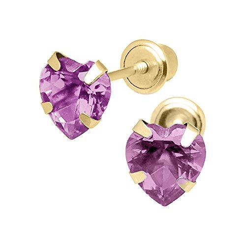Cubic Lavender Star Zirconia (14K Yellow Gold 4mm Cubic Zirconia Heart June Birthstone Stud Screwback Earrings)