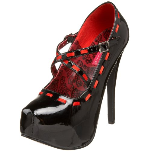 Teeze 18 Red Black Pump Patent Bordello Ribbon by Platform Women's Pleaser AwIt7