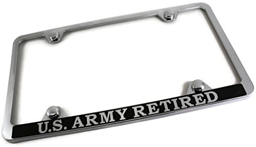 Au-Tomotive Gold, INC. DanteGTS Army Retired Slim ABS Plastic License Plate Tag Frame Mirror Chrome/w Screw Cap - Plate Army License Retired