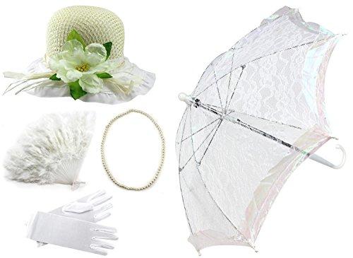 Enimay Girl's Costume Tea Party Set Fan Hat Necklace Umbrella Gloves (Umbrella Girl Costume)