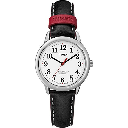 Timex Women's TW2R40200 Easy Reader 40th Anniversary Black/White Leather Strap Watch (Leather Strap White Black)