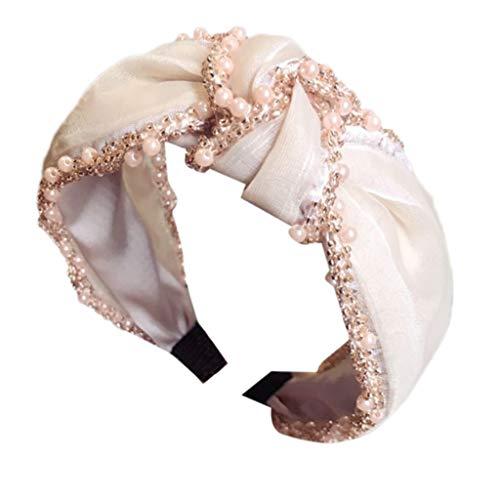 iNoDoZ Women's Pearl Hair Band Accessories Headband Fabric Hairband Comfortable Head Wrap Cross Knot -