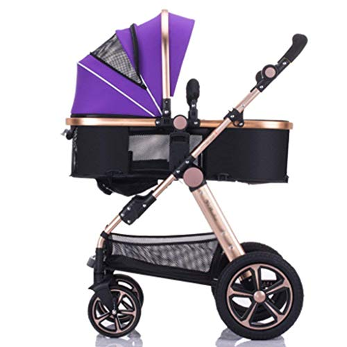 Strollers Two Way Toddlers Strollers Four Rounds Newborn Prams fold Baby Pushchairs Suitable for 0-3 Years Old with Cup Holder and Meal Plate,Can sit and Lie Down Standard (Color : Purple)