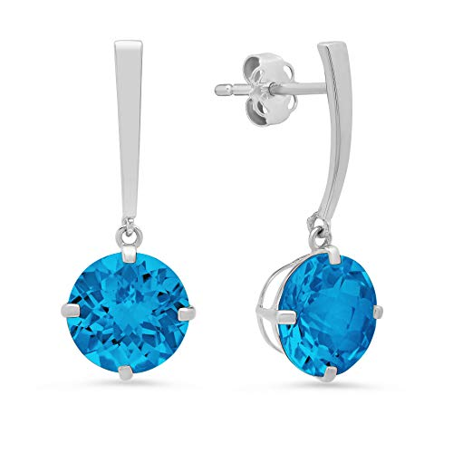 14k White Gold Solitaire Round-Cut Swiss Blue Topaz Drop Earrings -