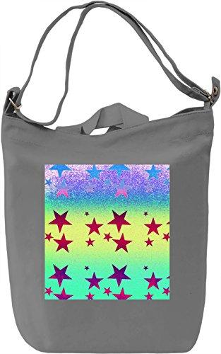 Colorful Stars Print Borsa Giornaliera Canvas Canvas Day Bag| 100% Premium Cotton Canvas| DTG Printing|