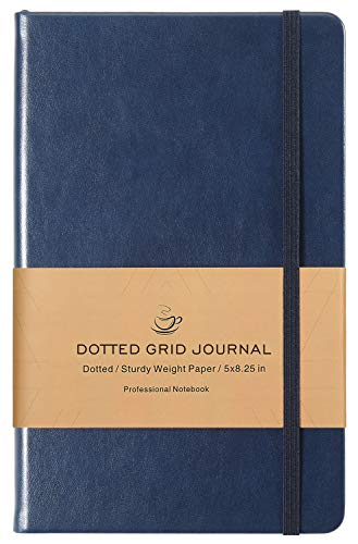 Dotted Grid Notebook/Journal - Dot Grid Hard Cover Notebook, Premium Thick Paper with Fine Inner Pocket, Navy Smooth Faux Leather, 5×8.25